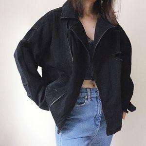 NWT Black distressed oversized moto denim jacket